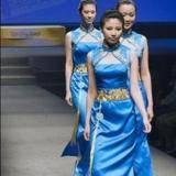 奥运系列蓝色金佩戴旗袍