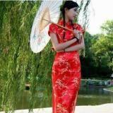 红色梅花图案短袖长款旗袍