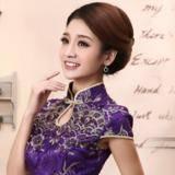 紫色凤凰刺绣立领鱼尾旗袍