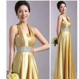黄色双肩长款晚礼服