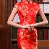 红色凤尾图案鱼尾旗袍
