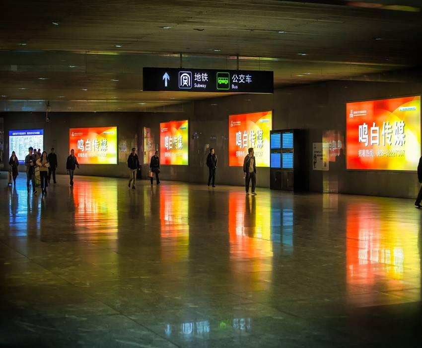 成都东站高铁地铁东广场(商业至东广场公交换乘通道)嵌入式灯箱