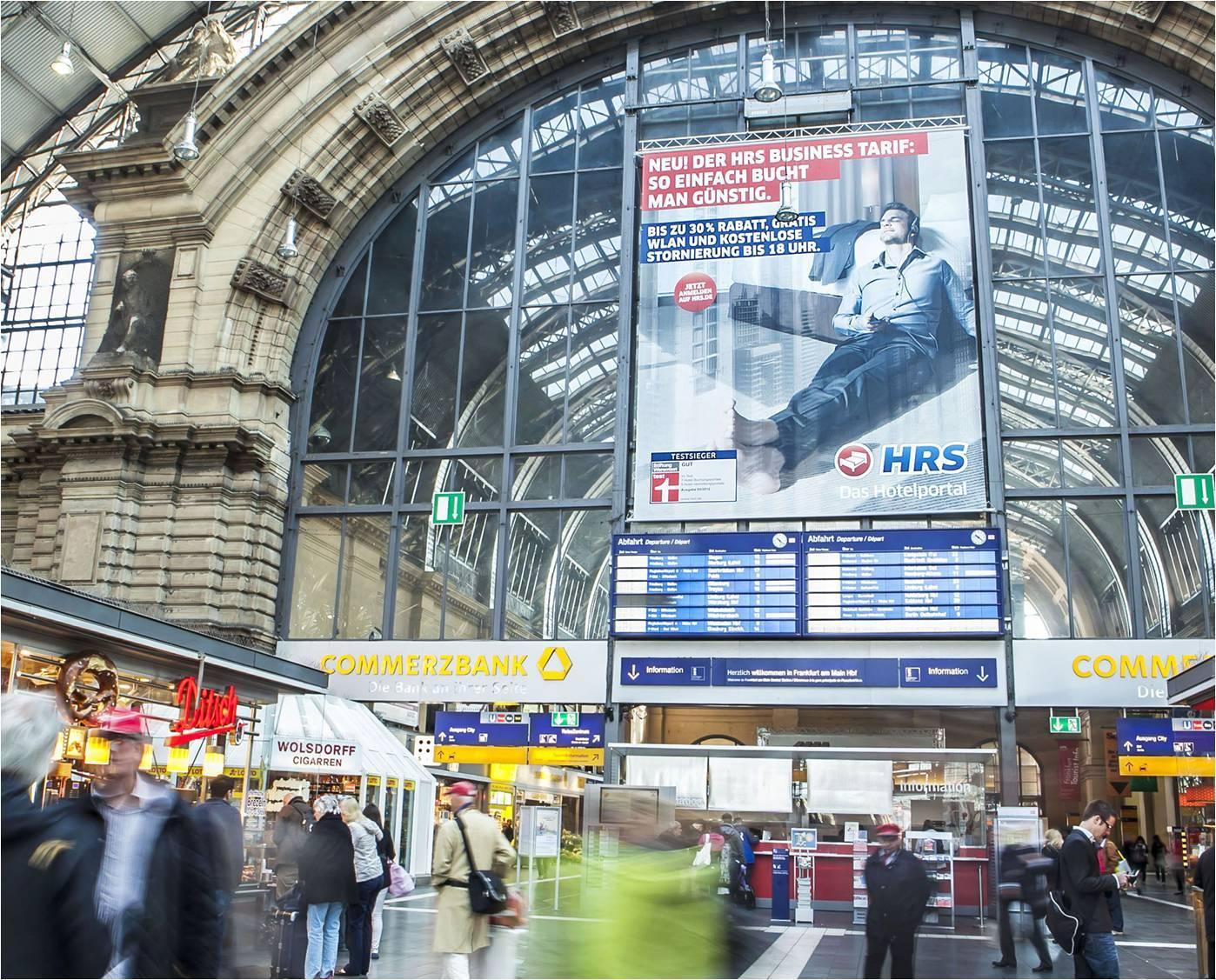 海外德国法兰克福中心火车站候车大厅广告