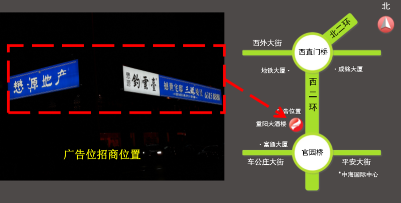 北京西二环官园桥户外大牌广告(一年)