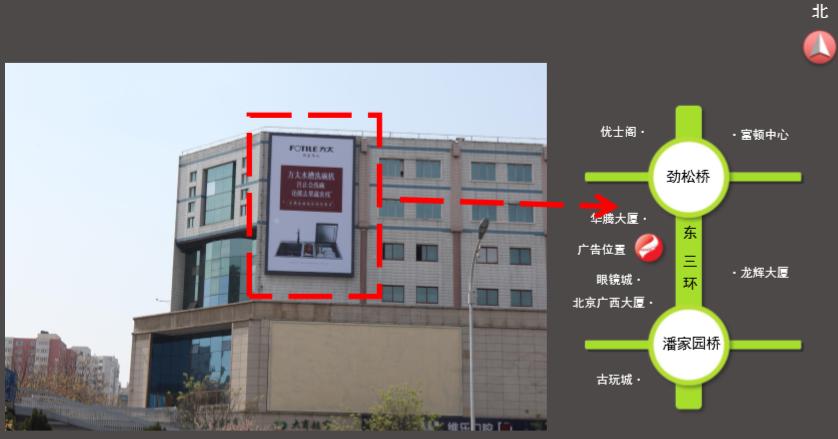 北京东三环劲松桥海文大厦户外墙体广告(一年)