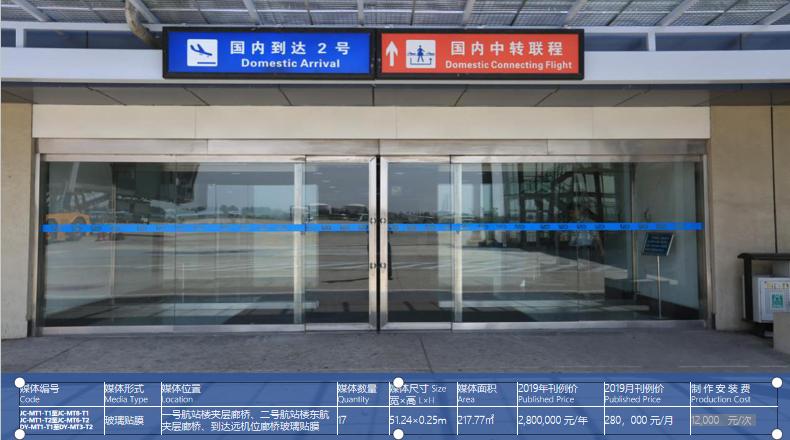 青岛机场T1出发层玻璃贴膜广告(一个月)JC-MT1-T1至JC-MT8-T1 JC-MT1-T2至JC-MT6-T2 DY-MT1-T1至DY-MT3-T2