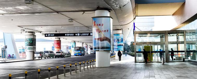 青岛机场T2出发层包柱广告(一个月)HW-BZ25-T2至HW-BZ42-T2