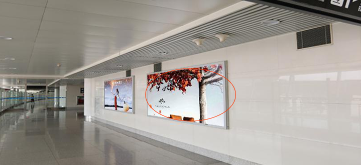 青岛机场T2到达层墙面灯箱广告(一个月)JC-Q3-T2