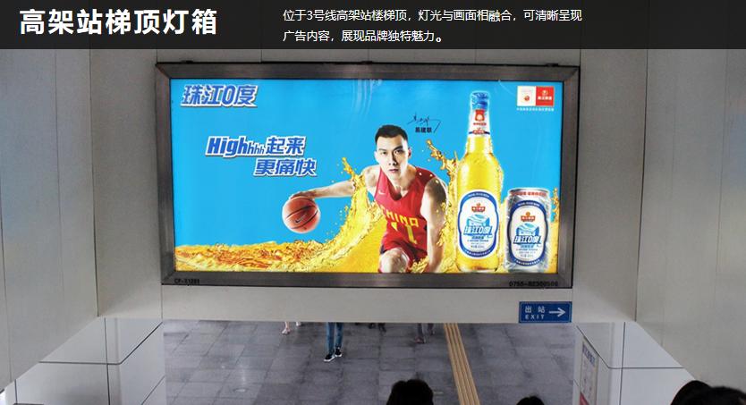 深圳地铁3号线高架站梯顶灯箱A++级站点(4周/块)