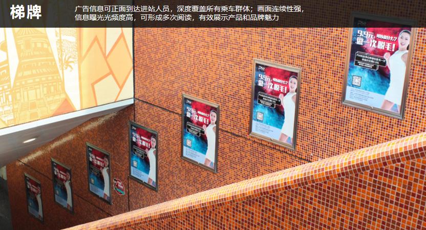 深圳地铁3/4号线扶梯侧梯牌(条)A级站点(4周/块)