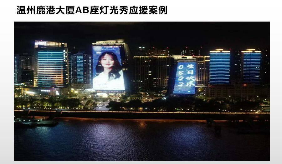 温州地标鹿港大厦灯光秀广告投放