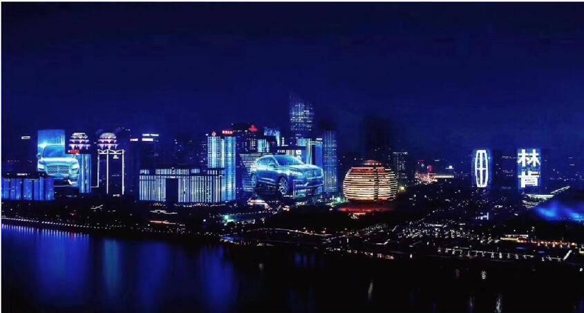 杭州钱江新城地标灯光秀广告发布