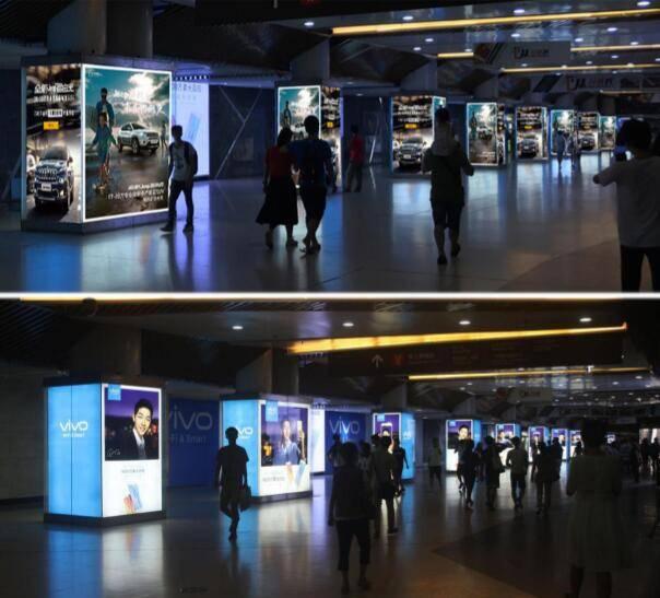 广州珠江新城地铁花城汇主通道品牌长廊灯箱包柱04-15